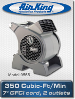 Air King Portable blower fan with electrical outlets.