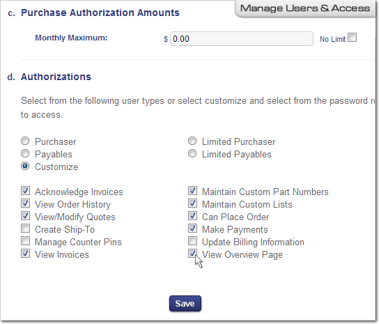 Example of Modifying an Account User's Access Authorization