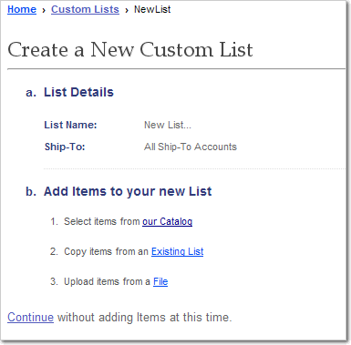 Create Custom List, Add Items