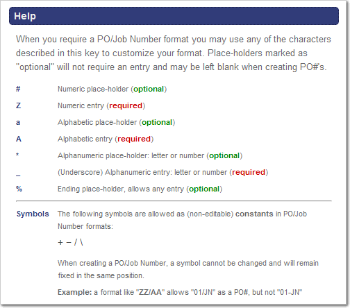 Format Key from the PO/Job Name Preferences Page