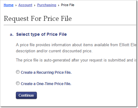 Price File Request Screen from Purchasing