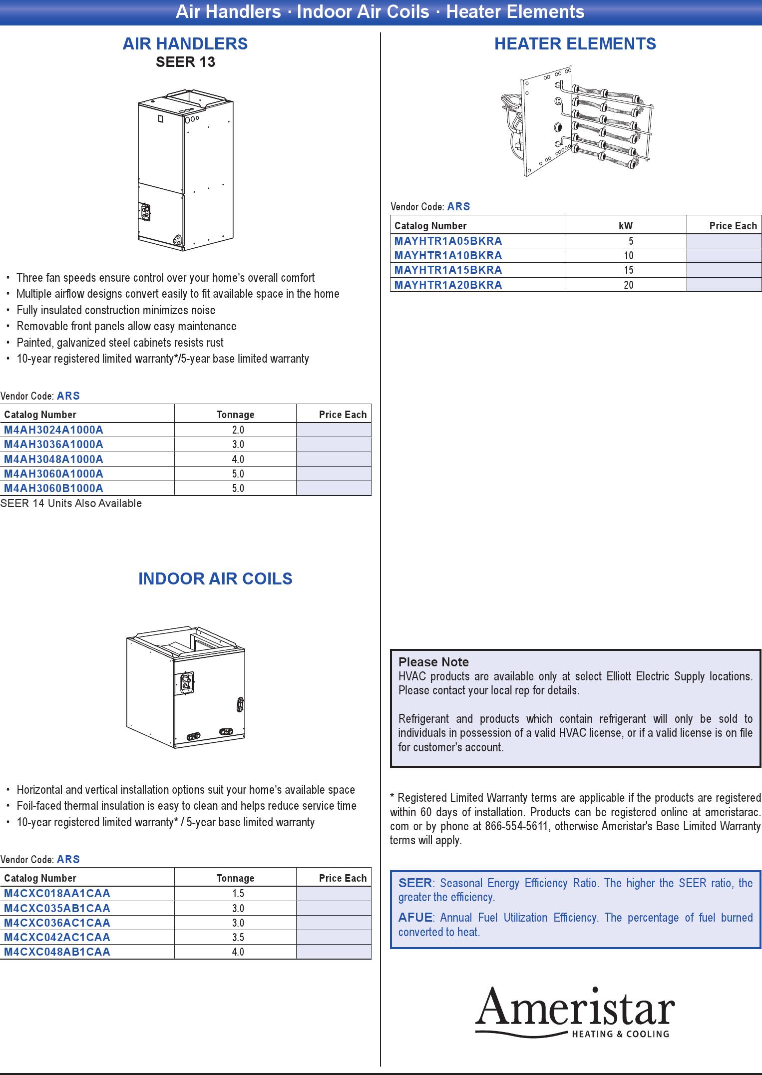 Air Handlers · Indoor Air Coils · Heater Elements - Print