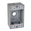"SB350S - 1G WP Gray Box - Three 1/2"" Holes - 18 Cu In - Hubbell--Raco"