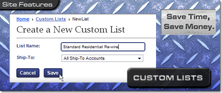 Custom Product Lists at ElliottElectric.com