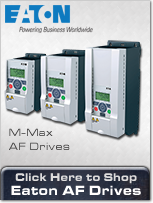 M-Max Adjustable Frequency Drives from Eaton, ranging from less than 1 horsepower to 10 HP.