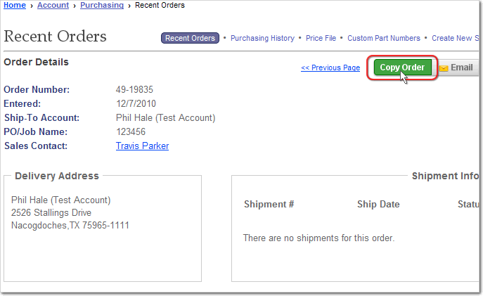 Add the Items from a past order to you shopping cart by Copying the Order