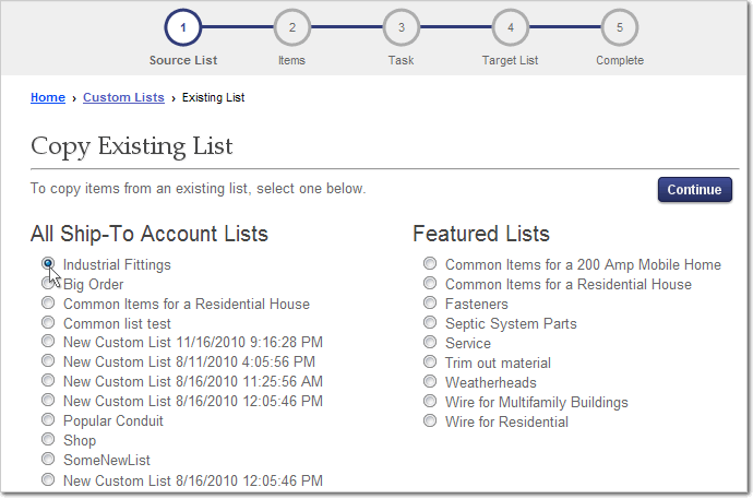 Copy Custom List, Step 1, Select Existing List