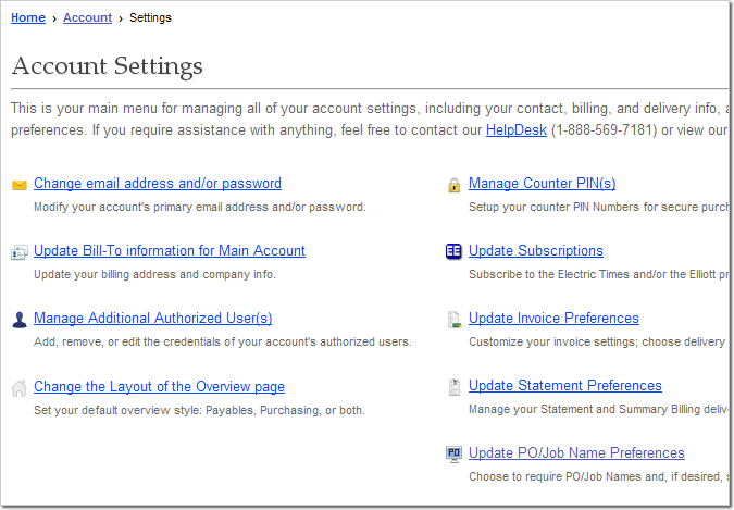 Elliott Online Account Settings Menu