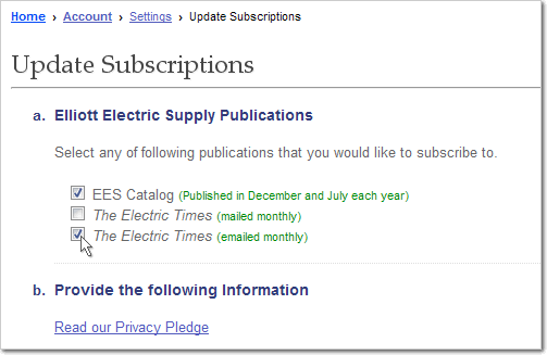 Subscribe to the Elliott Catalog and/or Electric Times