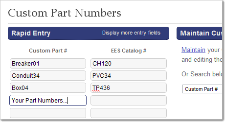 Rapid Entry for Creating Custom Part Numbers