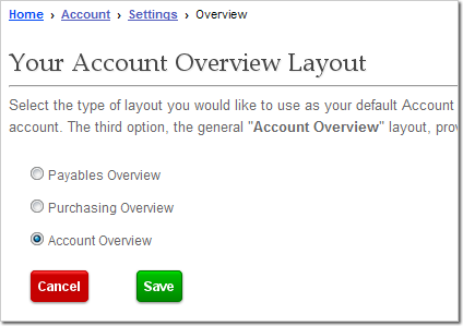 Account Overview Settings Page