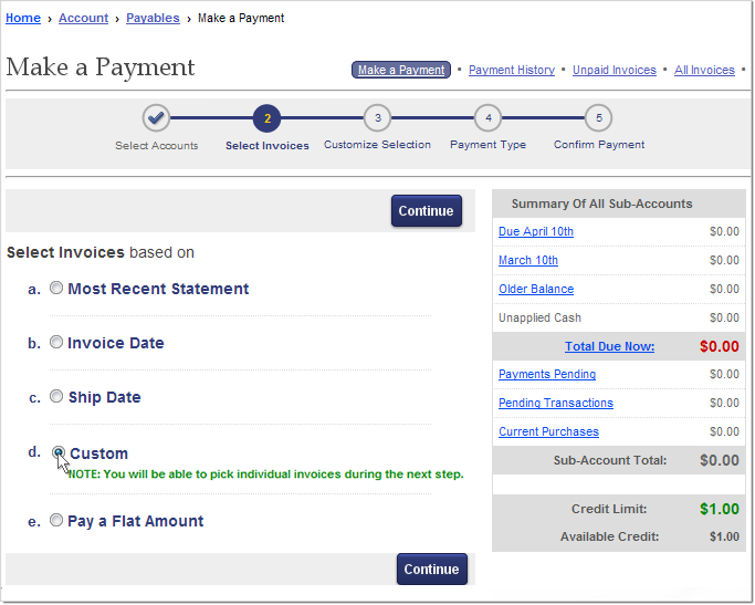 How to pay Elliott invoices online: Invoice Selection by Method