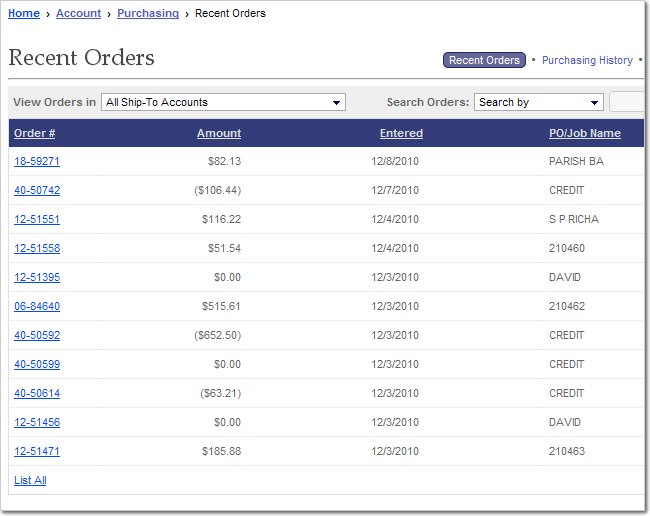 Image of Recent Orders List