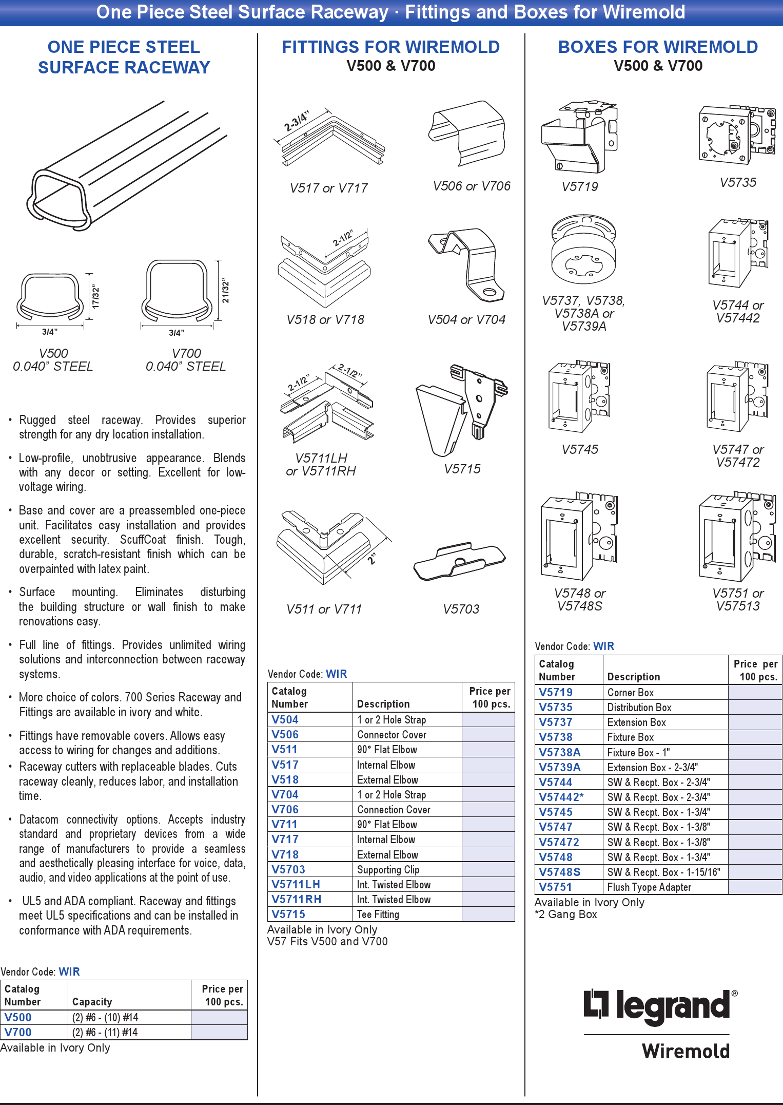 One Piece Steel Surface Raceway · Fittings and Boxes for Wiremold ...