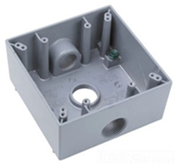 "WPB332 - 2G WP Gray Box -Three 3/4"" Holes - 30 Cu In - Pass & Seymour/Legrand"