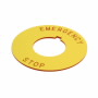 "10250TRP79 - Legend Plate-""Emer Stop"" Yellow, Plastic - Eaton Corp"