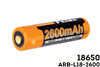 ARBL182600 - 18650 (3.6V) 2600 Mah Rechargeable Battery - Fenix Outfitters