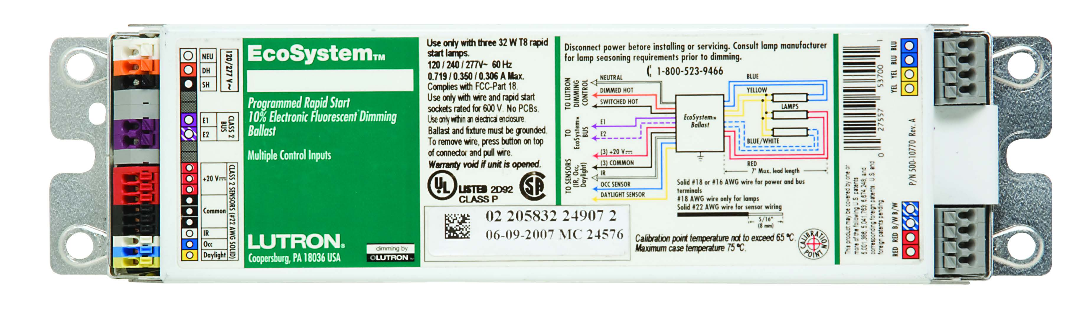 EC5T832GUNV3L Lutron Ecosystem Ballast 5 Input T8 32W Gunv 3 LampElliott Electric Supply
