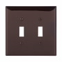 PJ2B - Wallplate 2G Toggle Poly Mid BR - Eaton Wiring Devices