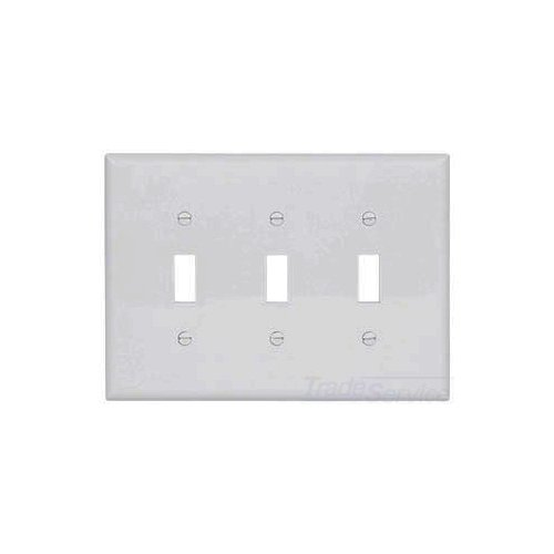 PJ3W - Wallplate 3G Toggle Poly Mid WH - Eaton