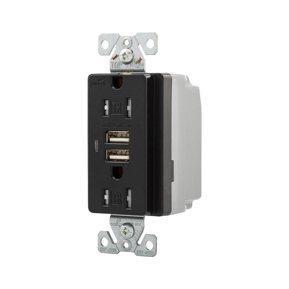 TR7745BKB0X TR7745BK-BOX Eaton Wiring Devices Combo 2 Port Usb ...