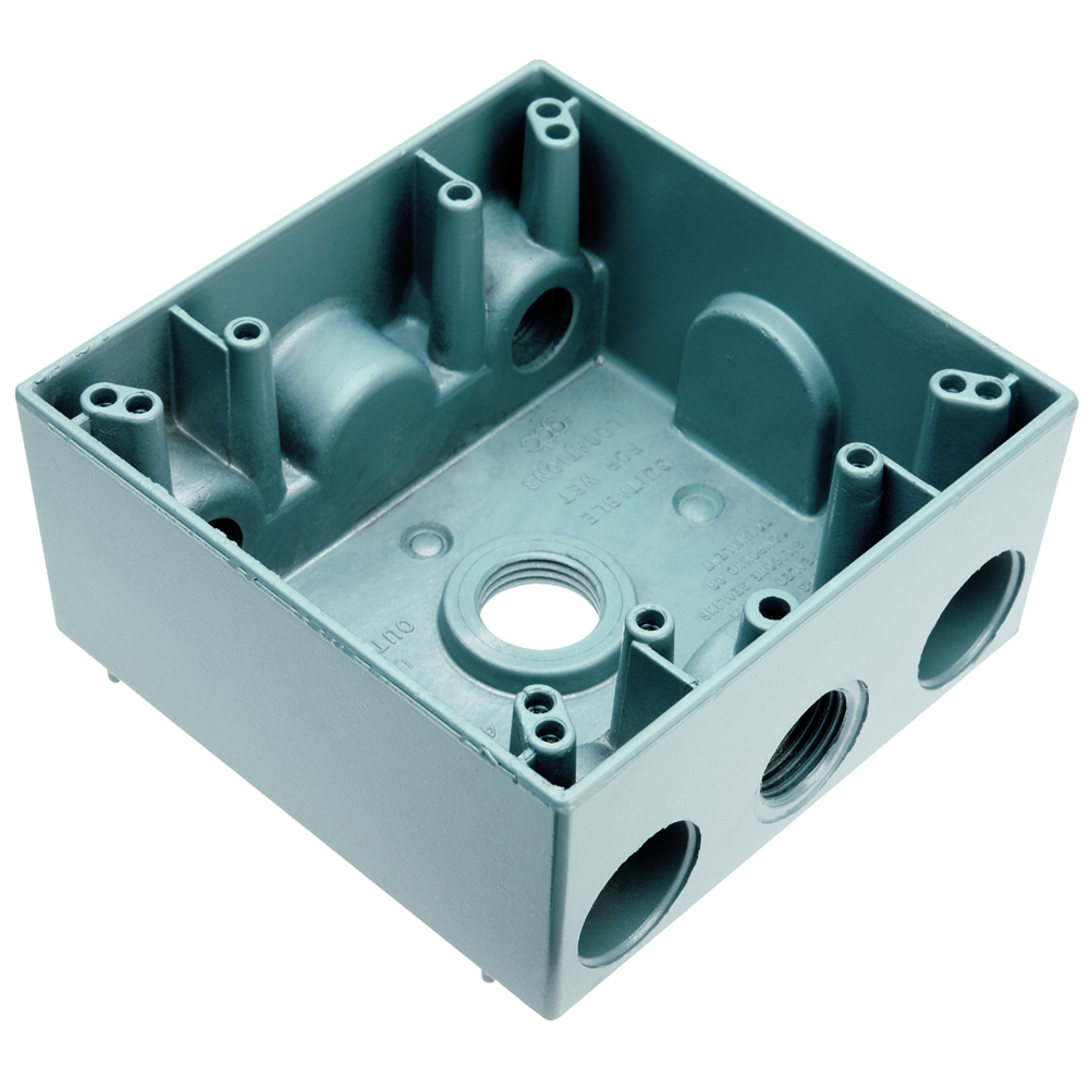 "WPB242 - 2G WP Gray Box - Four 1/2"" Holes - 30 Cu In - Legrand-Pass & Seymour"