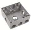 "WPB362 - 2G WP Gray Box - Five 3/4"" Holes - 30 Cu In - Pass & Seymour/Legrand"